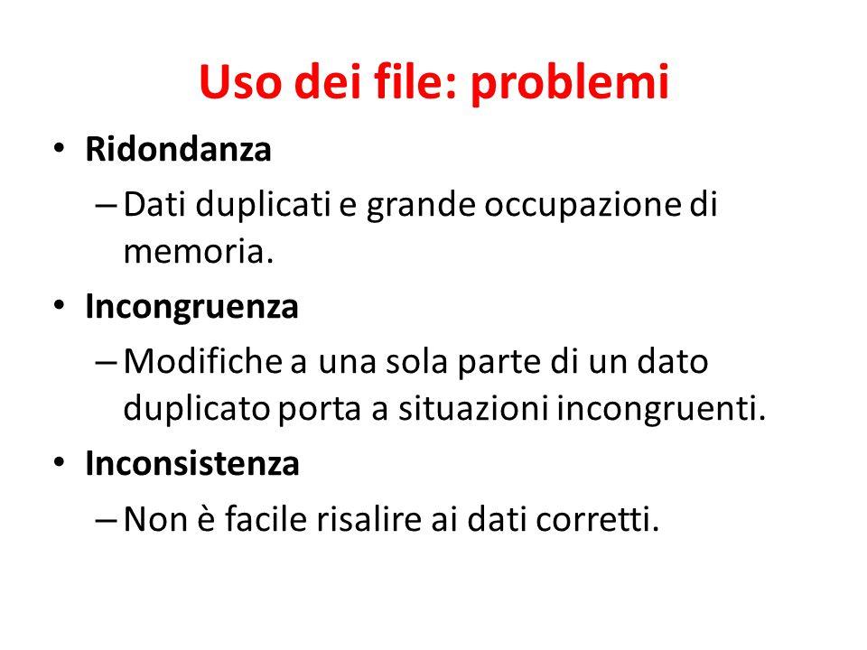 Uso dei file: problemi Ridondanza – Dati duplicati e grande occupazione di memoria. Incongruenza – Modifiche a una sola parte di un dato duplicato por