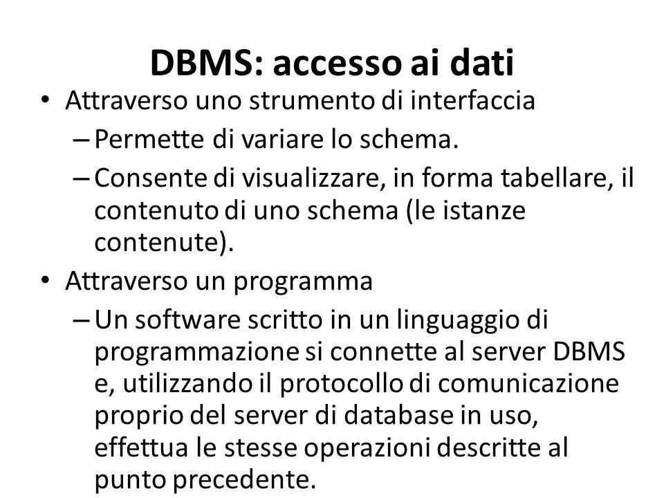DBMS: accesso ai dati Attraverso uno strumento di interfaccia – Permette di variare lo schema. – Consente di visualizzare, in forma tabellare, il cont