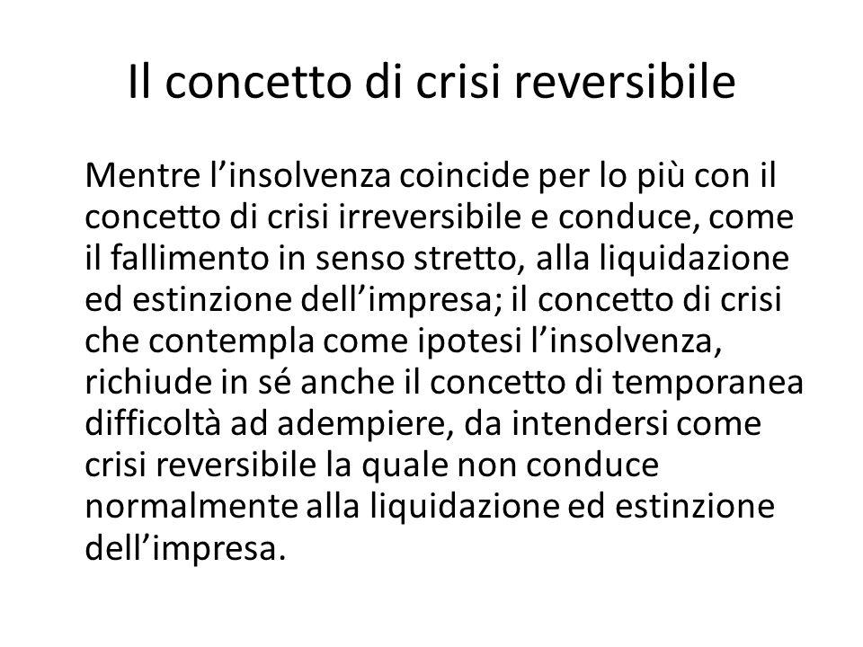 Il concetto di crisi reversibile Mentre l'insolvenza coincide per lo più con il concetto di crisi irreversibile e conduce, come il fallimento in senso