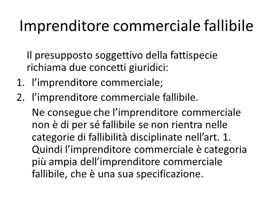 Imprenditore commerciale fallibile Il presupposto soggettivo della fattispecie richiama due concetti giuridici: 1.l'imprenditore commerciale; 2.l'imprenditore commerciale fallibile.