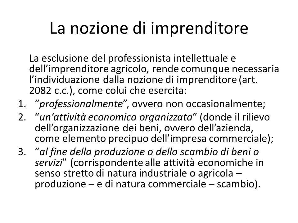La nozione di imprenditore La esclusione del professionista intellettuale e dell'imprenditore agricolo, rende comunque necessaria l'individuazione dalla nozione di imprenditore (art.