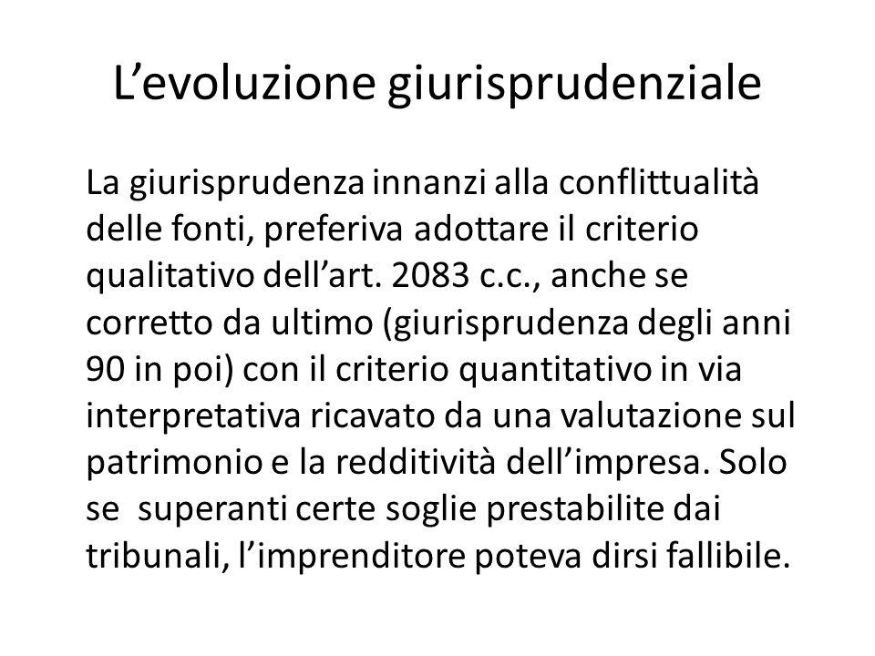 L'evoluzione giurisprudenziale La giurisprudenza innanzi alla conflittualità delle fonti, preferiva adottare il criterio qualitativo dell'art. 2083 c.