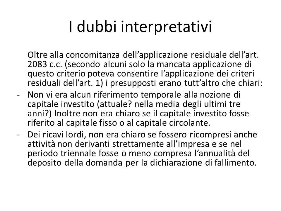 I dubbi interpretativi Oltre alla concomitanza dell'applicazione residuale dell'art.