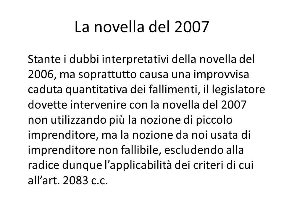 La novella del 2007 Stante i dubbi interpretativi della novella del 2006, ma soprattutto causa una improvvisa caduta quantitativa dei fallimenti, il l