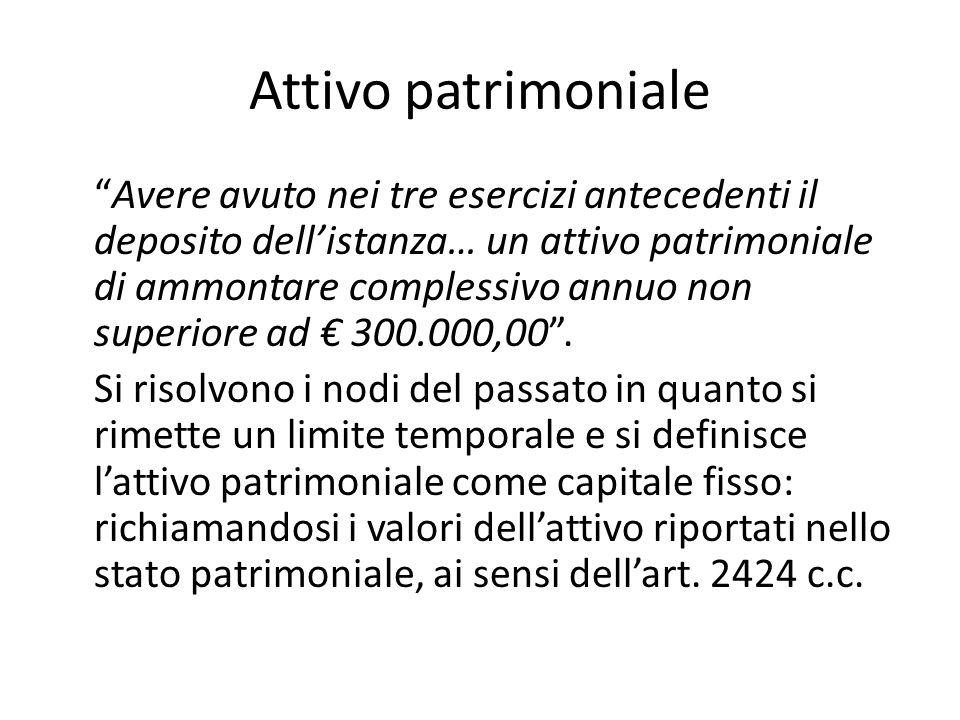 Attivo patrimoniale Avere avuto nei tre esercizi antecedenti il deposito dell'istanza… un attivo patrimoniale di ammontare complessivo annuo non superiore ad € 300.000,00 .