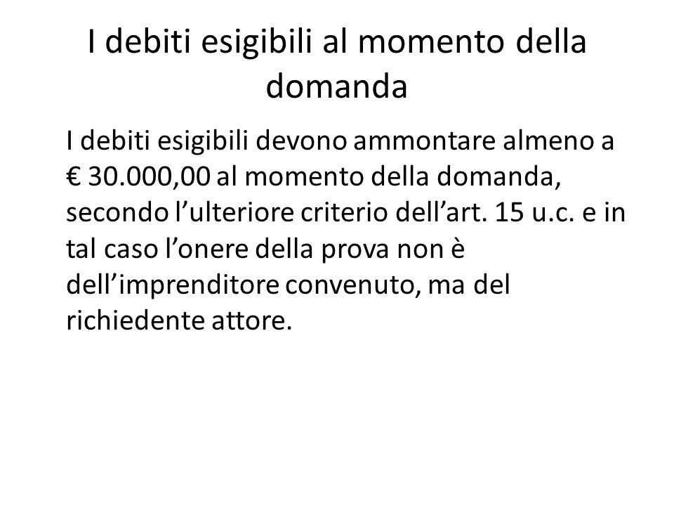 I debiti esigibili al momento della domanda I debiti esigibili devono ammontare almeno a € 30.000,00 al momento della domanda, secondo l'ulteriore criterio dell'art.