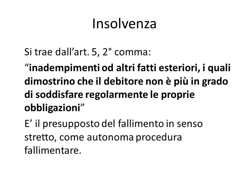 """Insolvenza Si trae dall'art. 5, 2° comma: """"inadempimenti od altri fatti esteriori, i quali dimostrino che il debitore non è più in grado di soddisfare"""