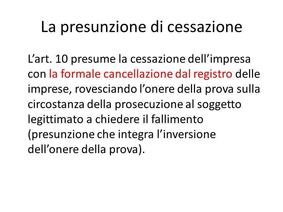 La presunzione di cessazione L'art. 10 presume la cessazione dell'impresa con la formale cancellazione dal registro delle imprese, rovesciando l'onere