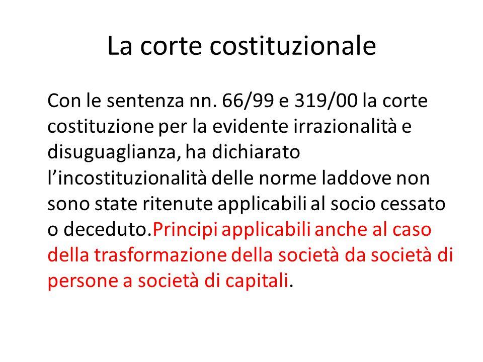 La corte costituzionale Con le sentenza nn. 66/99 e 319/00 la corte costituzione per la evidente irrazionalità e disuguaglianza, ha dichiarato l'incos