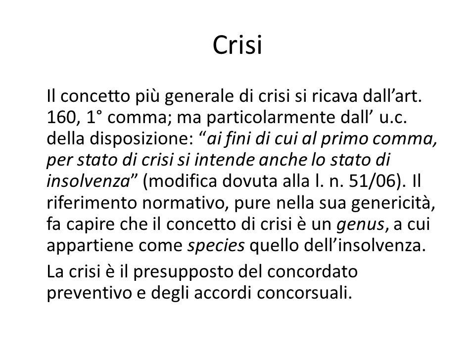 """Crisi Il concetto più generale di crisi si ricava dall'art. 160, 1° comma; ma particolarmente dall' u.c. della disposizione: """"ai fini di cui al primo"""