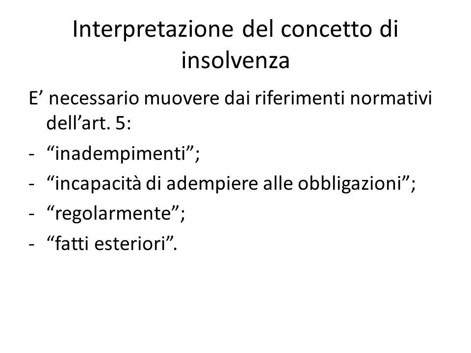 """Interpretazione del concetto di insolvenza E' necessario muovere dai riferimenti normativi dell'art. 5: -""""inadempimenti""""; -""""incapacità di adempiere al"""