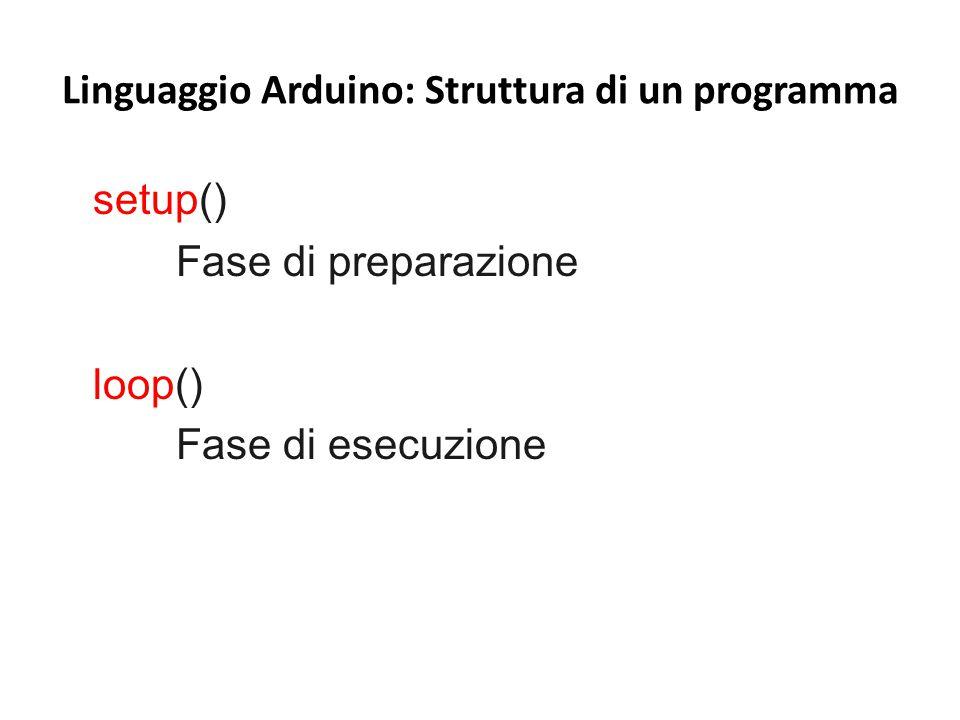 Linguaggio Arduino: Struttura di un programma setup() Fase di preparazione loop() Fase di esecuzione