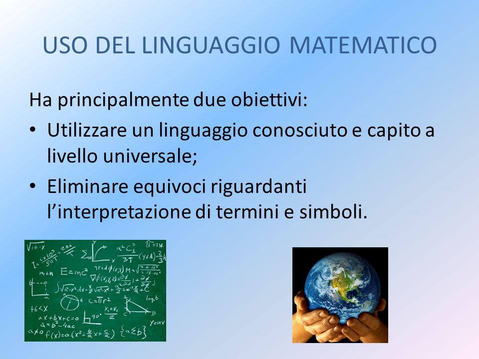 USO DEL LINGUAGGIO MATEMATICO Ha principalmente due obiettivi: Utilizzare un linguaggio conosciuto e capito a livello universale; Eliminare equivoci riguardanti l'interpretazione di termini e simboli.
