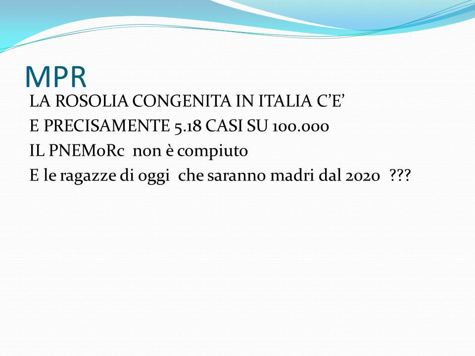 MPR LA ROSOLIA CONGENITA IN ITALIA C'E' E PRECISAMENTE 5.18 CASI SU 100.000 IL PNEMoRc non è compiuto E le ragazze di oggi che saranno madri dal 2020