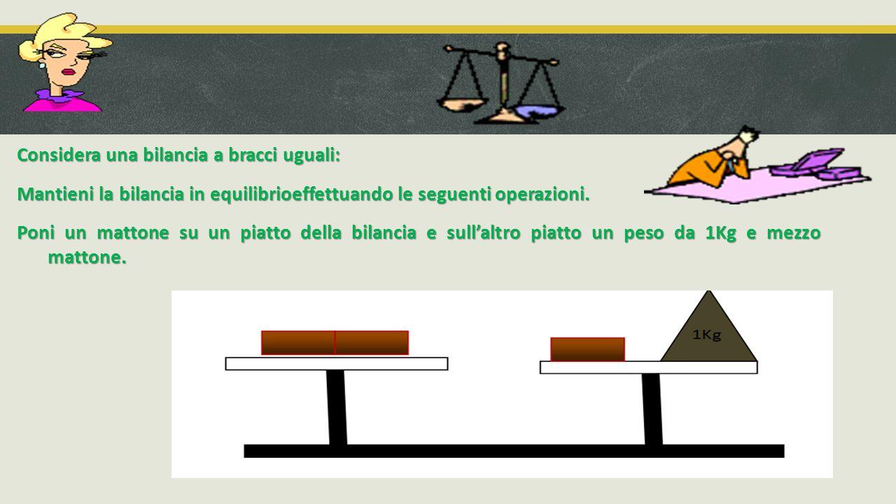 Considera una bilancia a bracci uguali: Mantieni la bilancia in equilibrioeffettuando le seguenti operazioni. Poni un mattone su un piatto della bilan