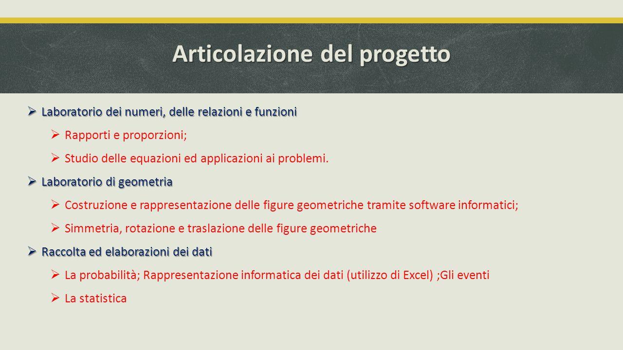 Articolazione del progetto  Laboratorio dei numeri, delle relazioni e funzioni  Rapporti e proporzioni;  Studio delle equazioni ed applicazioni ai