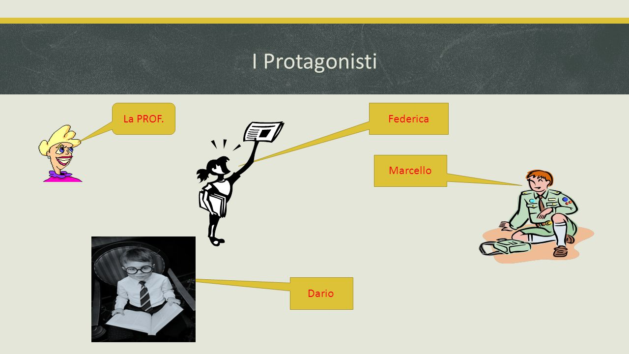 I Protagonisti Federica Marcello Dario La PROF.