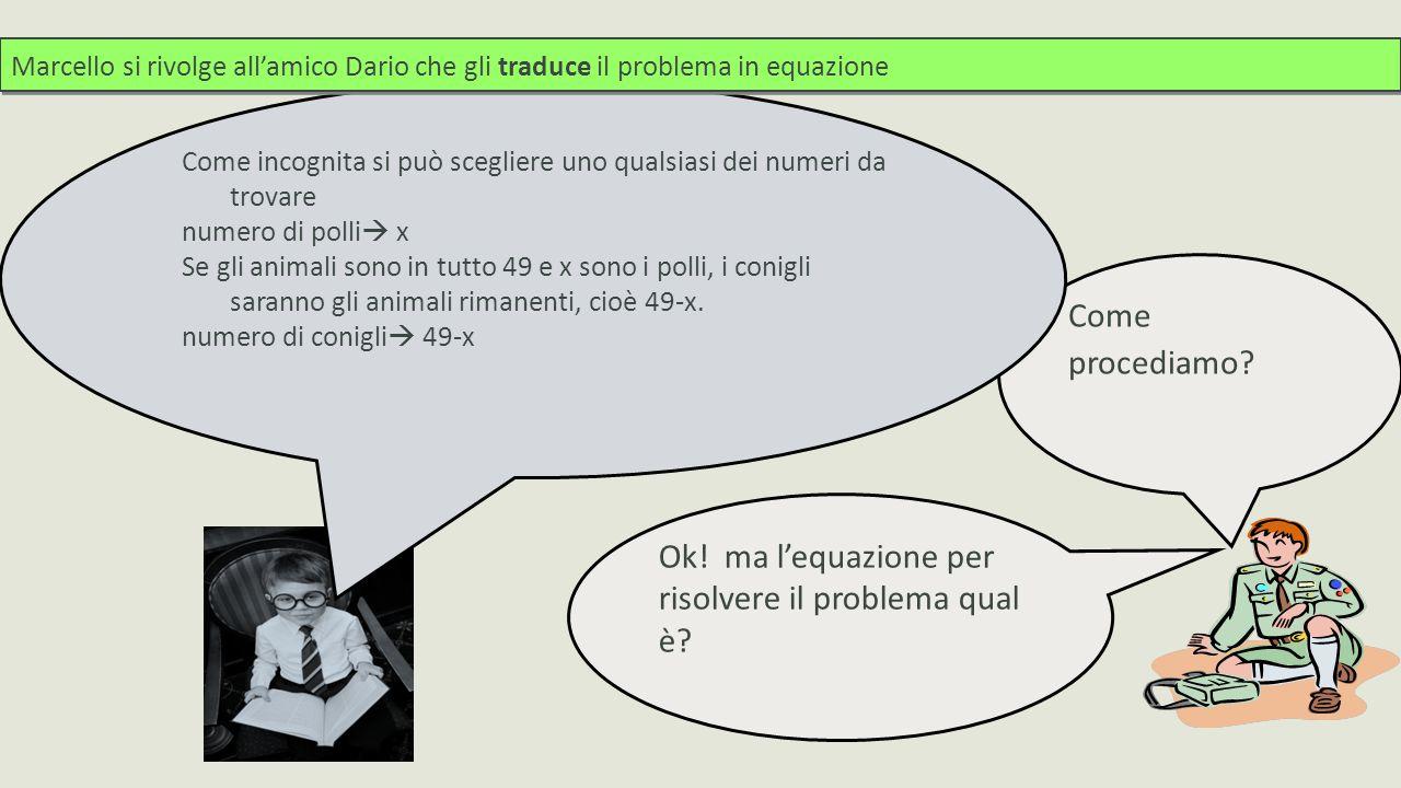 Per scrivere l equazione utilizza la seconda relazione tra i dati la somma delle zampe è 168 2·x + 4·(49-x)=168 i polli hanno 2 zampe i polli sono x i conigli hanno 4 zampe i conigli sono 49-x le zampe in tutto sono 168 Quindi basta risolvere l'equazione.