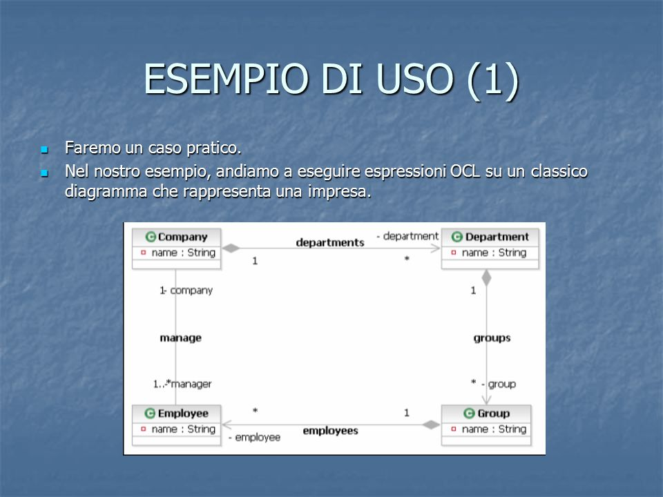Fase 1: Carga del Modello UML 2.0 Essempio d'empresa generado con eclipse per modelo UML2.0: Essempio d'empresa generado con eclipse per modelo UML2.0: <uml:Model xmi:version= 2.0 xmlns:xmi= http://www.omg.org/XMI xmlns:uml= http://www.eclipse.org/uml2/1.0.0/UML xmi:id= _JsDyAPMHEdmre8WY4HdRjQ name= testCase1 > <ownedMember xmi:type= uml:Package xmi:id= _J6MUoPMHEdmre8WY4HdRjQ name= Package packageableElement_visibility= public > <ownedMember xmi:type= uml:Class xmi:id= _J7J98PMHEdmre8WY4HdRjQ name= Empleado isLeaf= false isAbstract= false isActive= false /> <ownedMember xmi:type= uml:Class xmi:id= _J7QEkfMHEdmre8WY4HdRjQ name= Jefe isLeaf= false isAbstract= false isActive= false /> <ownedMember xmi:type= uml:Class xmi:id= _J7WLMvMHEdmre8WY4HdRjQ name= Ayudante isLeaf= false isAbstract= false isActive= false /> </ownedMember></uml:Model>