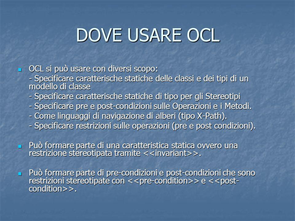 DOVE USARE OCL OCL si può usare con diversi scopo: OCL si può usare con diversi scopo: - Specificare caratterische statiche delle classi e dei tipi di