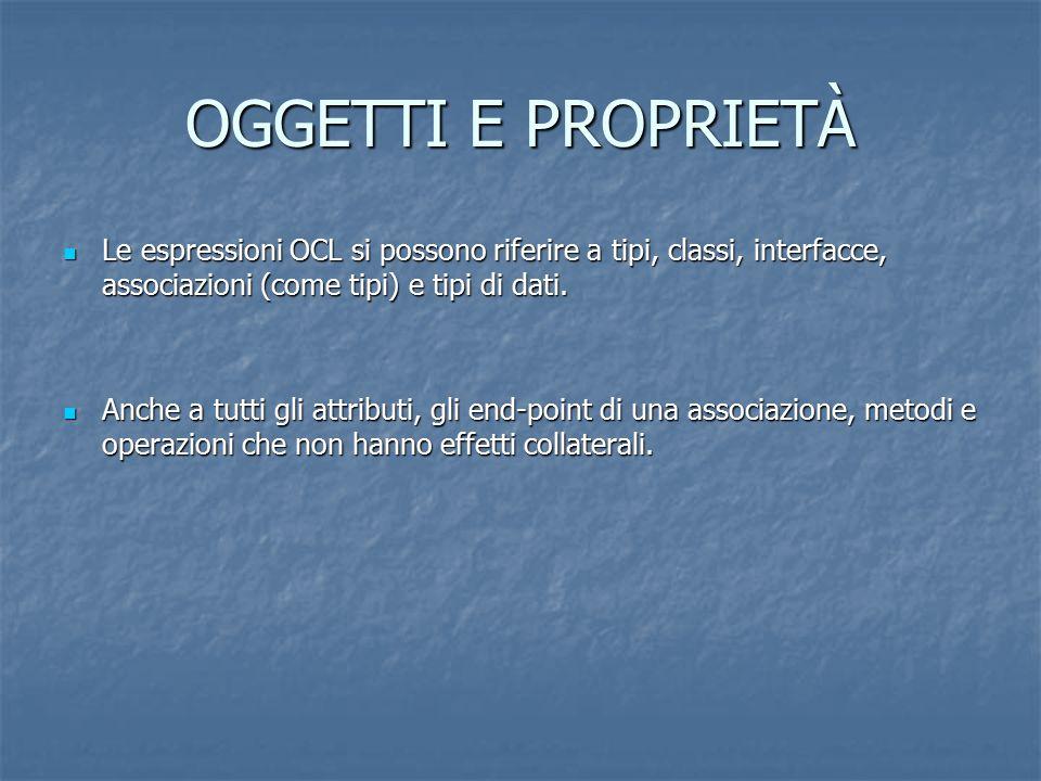 OGGETTI E PROPRIETÀ Le espressioni OCL si possono riferire a tipi, classi, interfacce, associazioni (come tipi) e tipi di dati. Le espressioni OCL si