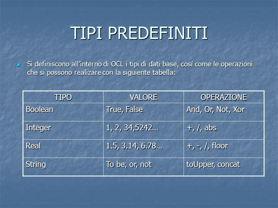 TIPI PREDEFINITI Si definiscono all'interno di OCL i tipi di dati base, cosí come le operazioni che si possono realizare con la siguiente tabella: Si
