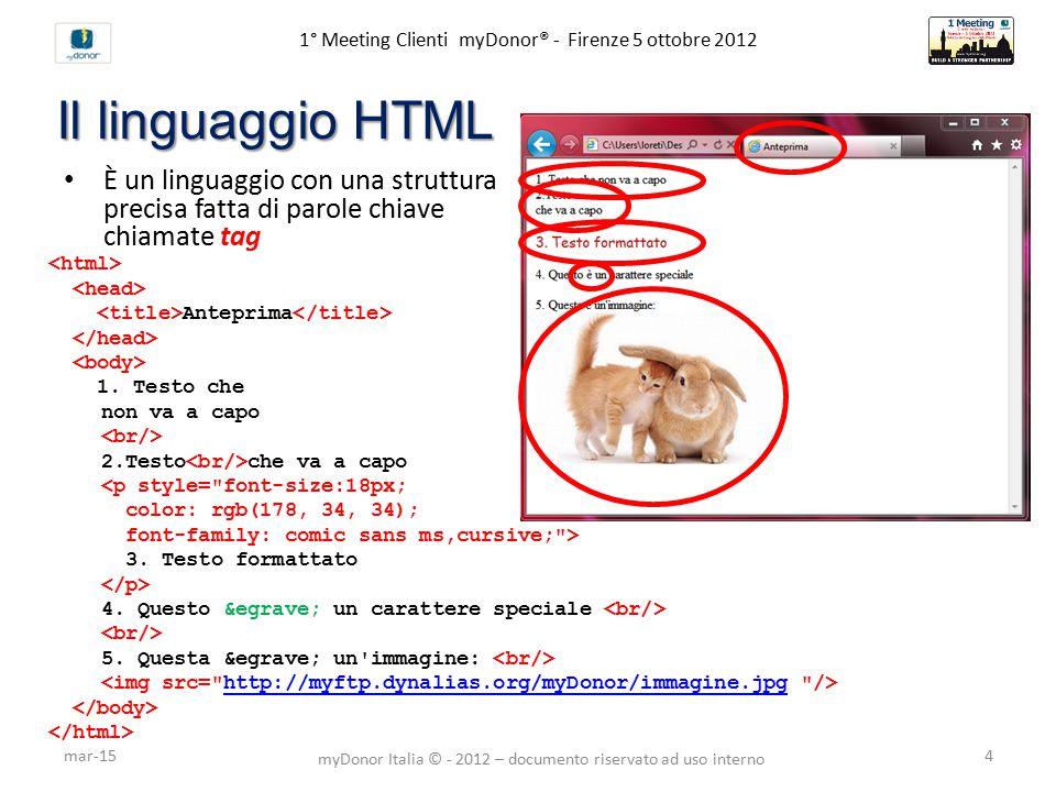 1° Meeting Clienti myDonor® - Firenze 5 ottobre 2012 Il linguaggio HTML È un linguaggio con una struttura precisa fatta di parole chiave chiamate tag Anteprima 1.