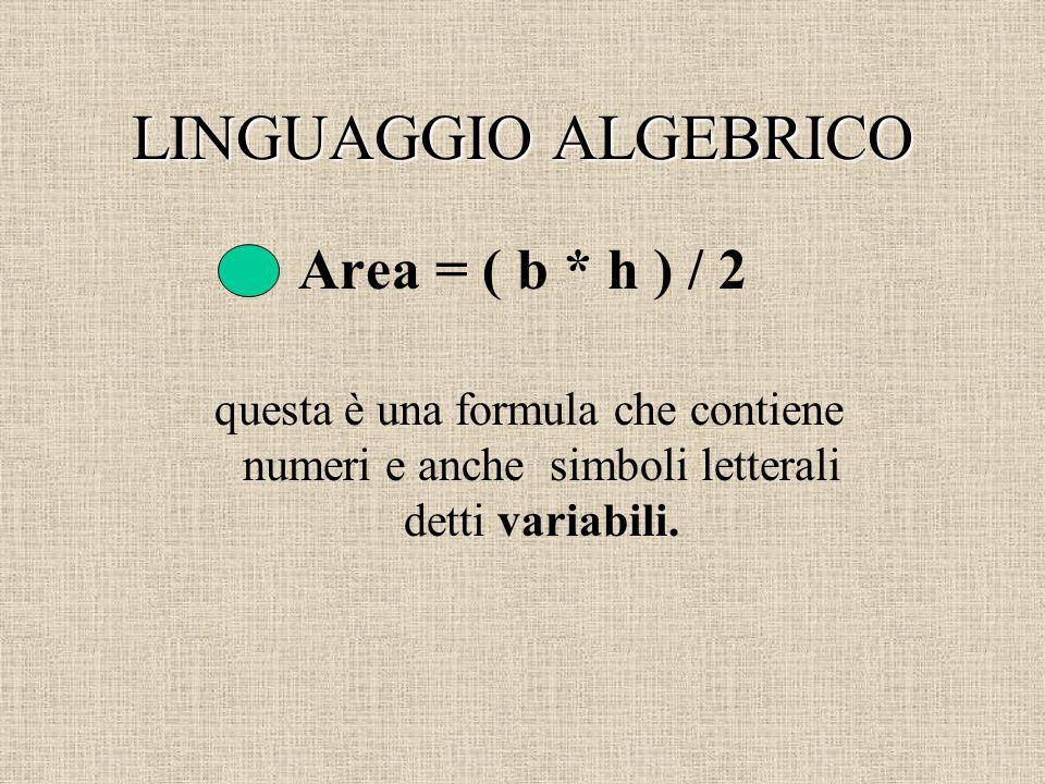 LINGUAGGIO ALGEBRICO Area = ( b * h ) / 2 questa è una formula che contiene numeri e anche simboli letterali detti variabili.