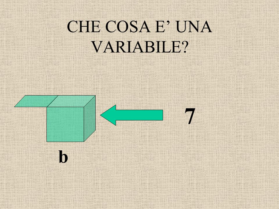 CHE COSA E' UNA VARIABILE? b 7