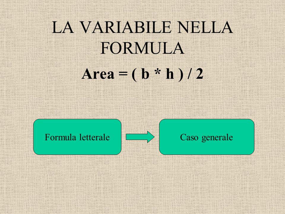 LA VARIABILE NELLA FORMULA Area = ( b * h ) / 2 Formula letteraleCaso generale