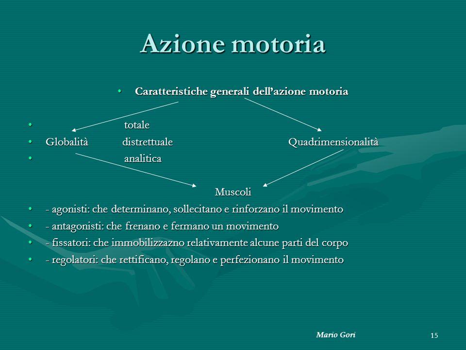 Mario Gori 15 Azione motoria Caratteristiche generali dell'azione motoriaCaratteristiche generali dell'azione motoria totale totale Globalità distrett