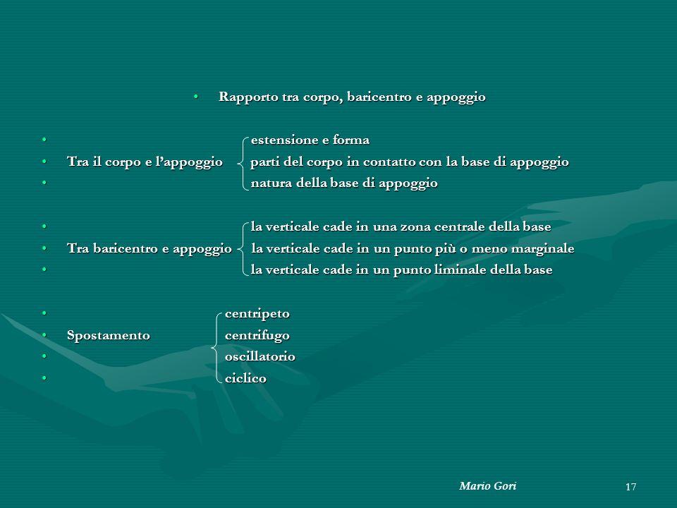 Mario Gori 17 Rapporto tra corpo, baricentro e appoggioRapporto tra corpo, baricentro e appoggio estensione e forma estensione e forma Tra il corpo e