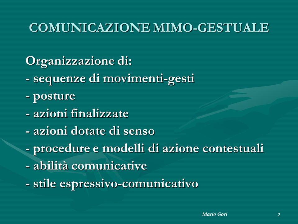 2 COMUNICAZIONE MIMO-GESTUALE Organizzazione di: - sequenze di movimenti-gesti - posture - azioni finalizzate - azioni dotate di senso - procedure e m
