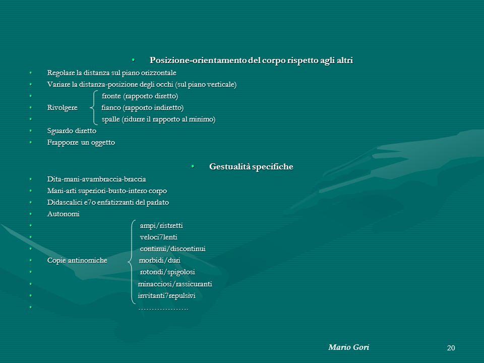 Mario Gori 20 Posizione-orientamento del corpo rispetto agli altriPosizione-orientamento del corpo rispetto agli altri Regolare la distanza sul piano
