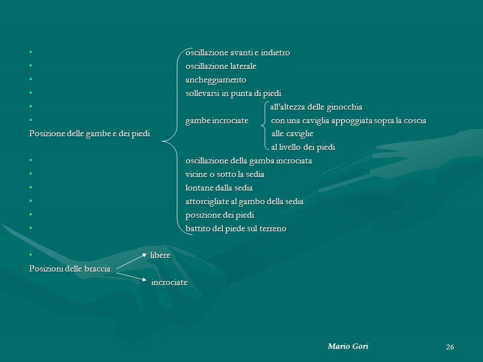 Mario Gori 26 oscillazione avanti e indietro oscillazione avanti e indietro oscillazione laterale oscillazione laterale ancheggiamento ancheggiamento