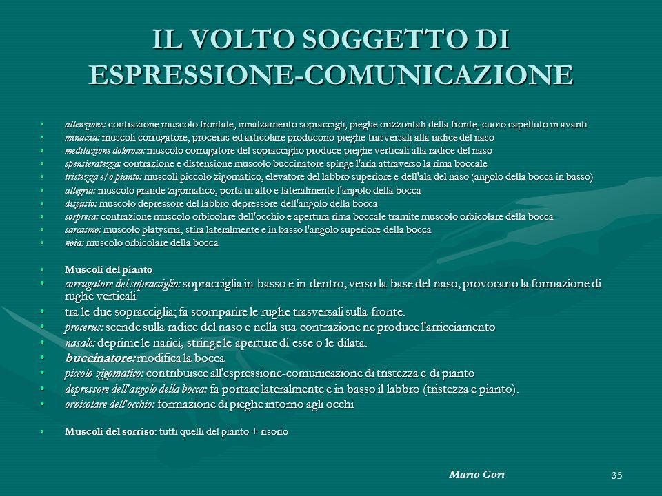 Mario Gori 35 IL VOLTO SOGGETTO DI ESPRESSIONE-COMUNICAZIONE attenzione: contrazione muscolo frontale, innalzamento sopraccigli, pieghe orizzontali de