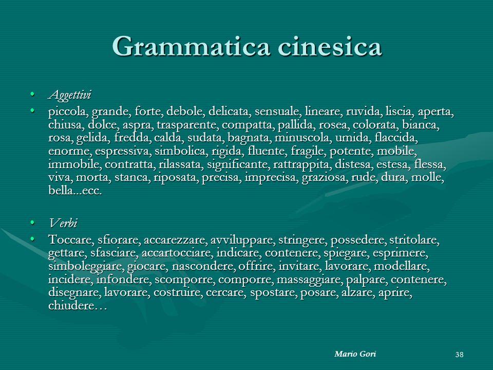 Mario Gori 38 Grammatica cinesica AggettiviAggettivi piccola, grande, forte, debole, delicata, sensuale, lineare, ruvida, liscia, aperta, chiusa, dolc