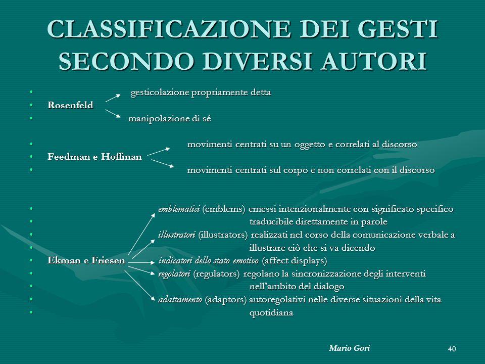 Mario Gori 40 CLASSIFICAZIONE DEI GESTI SECONDO DIVERSI AUTORI gesticolazione propriamente detta gesticolazione propriamente detta RosenfeldRosenfeld