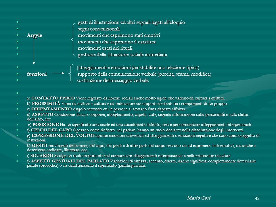 Mario Gori 42 gesti di illustrazione ed altri segnali legati all'eloquio gesti di illustrazione ed altri segnali legati all'eloquio segni convenzional