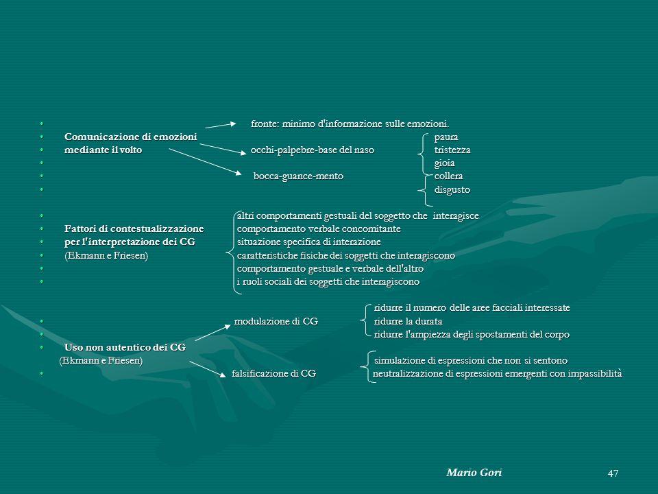 Mario Gori 47 fronte: minimo d'informazione sulle emozioni. fronte: minimo d'informazione sulle emozioni. Comunicazione di emozionipauraComunicazione