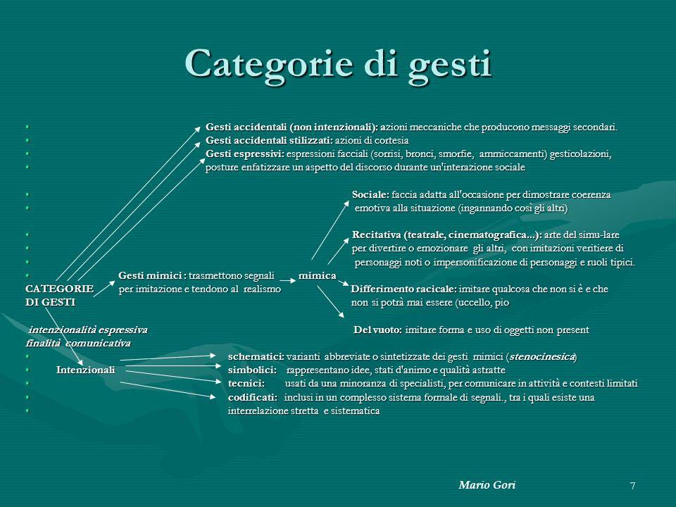 Mario Gori 7 Categorie di gesti Gesti accidentali (non intenzionali): azioni meccaniche che producono messaggi secondari. Gesti accidentali (non inten