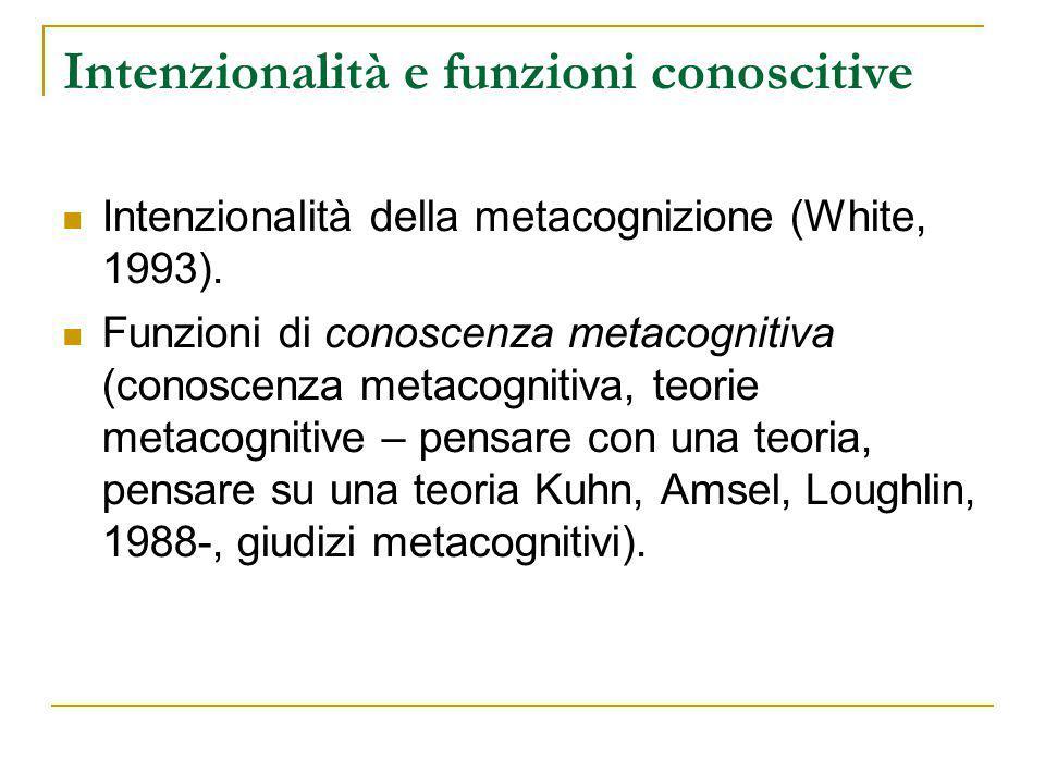 Intenzionalità e funzioni conoscitive Intenzionalità della metacognizione (White, 1993).