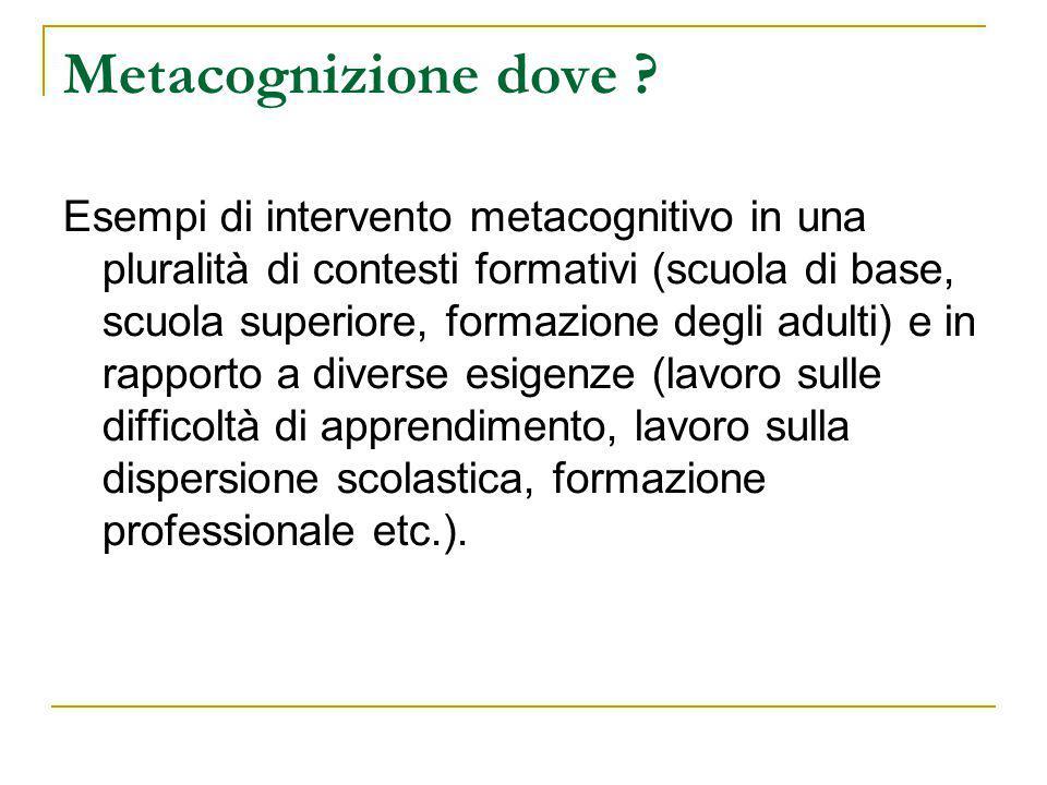 Metacognizione dove ? Esempi di intervento metacognitivo in una pluralità di contesti formativi (scuola di base, scuola superiore, formazione degli ad