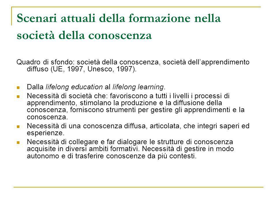 Scenari attuali della formazione nella società della conoscenza Quadro di sfondo: società della conoscenza, società dell'apprendimento diffuso (UE, 1997, Unesco, 1997).