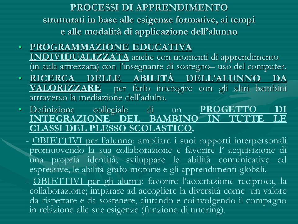PROCESSI DI APPRENDIMENTO strutturati in base alle esigenze formative, ai tempi e alle modalità di applicazione dell'alunno PROGRAMMAZIONE EDUCATIVA I