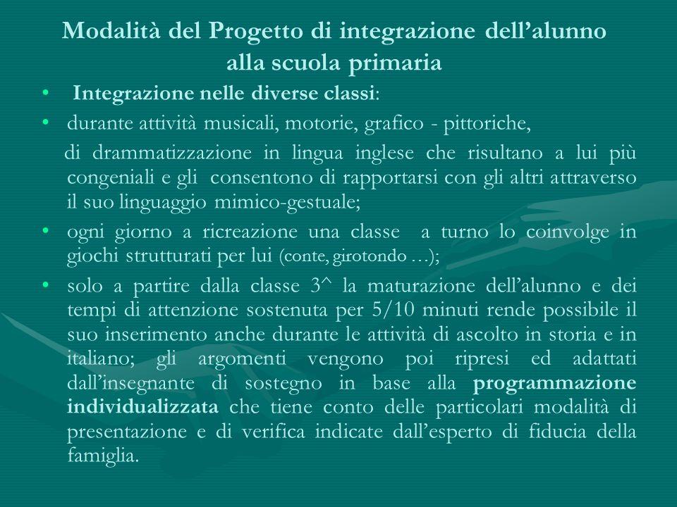 Modalità del Progetto di integrazione dell'alunno alla scuola primaria Integrazione nelle diverse classi: durante attività musicali, motorie, grafico