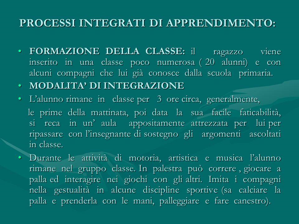 PROCESSI INTEGRATI DI APPRENDIMENTO: FORMAZIONE DELLA CLASSE: il ragazzo viene inserito in una classe poco numerosa ( 20 alunni) e con alcuni compagni
