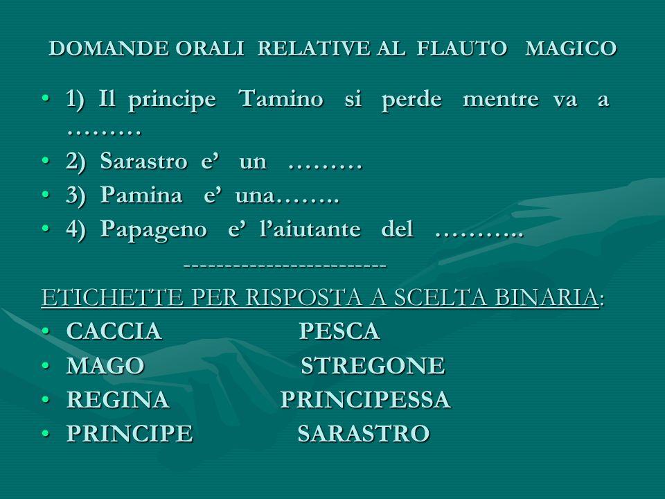 DOMANDE ORALI RELATIVE AL FLAUTO MAGICO 1) Il principe Tamino si perde mentre va a ………1) Il principe Tamino si perde mentre va a ……… 2) Sarastro e' un ………2) Sarastro e' un ……… 3) Pamina e' una……..3) Pamina e' una……..