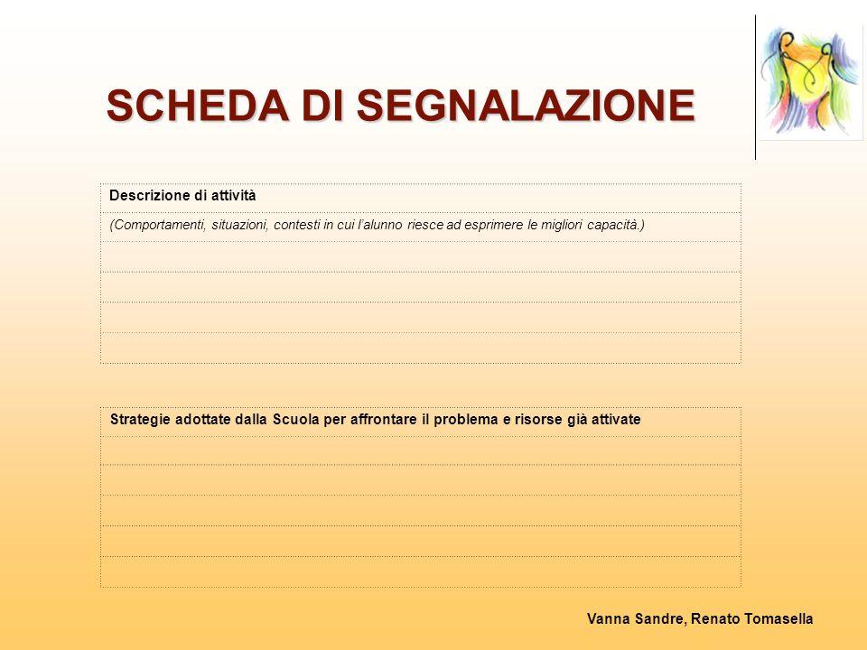 Vanna Sandre, Renato Tomasella SCHEDA DI SEGNALAZIONE Descrizione di attività (Comportamenti, situazioni, contesti in cui l'alunno riesce ad esprimere