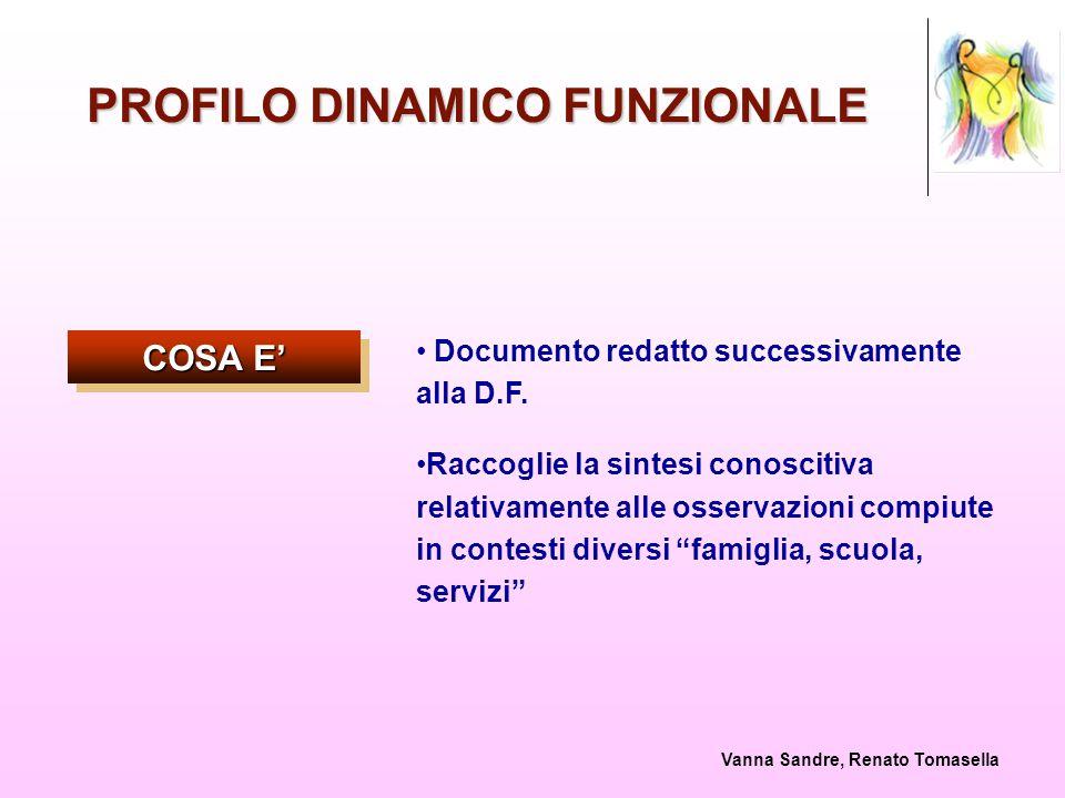 Vanna Sandre, Renato Tomasella PROFILO DINAMICO FUNZIONALE COSA E' Documento redatto successivamente alla D.F. Raccoglie la sintesi conoscitiva relati